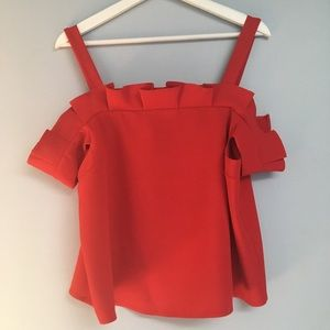 Topshop off the shoulders red top.